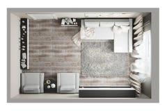 Взгляд сверху живущей комнаты Стоковое Изображение RF