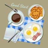 Взгляд сверху завтрака установленное Стоковое Изображение RF