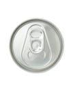 Взгляд сверху закрытой алюминиевой чонсервной банкы напитка на белой предпосылке Стоковое фото RF