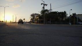взгляд сверху захода солнца хайвея сток-видео