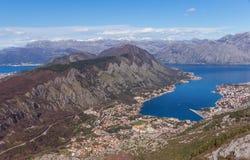 Взгляд сверху залива Kotor. Черногория Стоковые Изображения RF