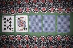 Взгляд сверху зеленой таблицы с 10, jack казино, покрыло играть Стоковые Фото
