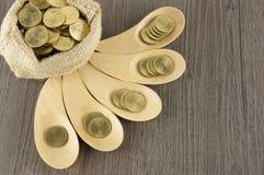 Взгляд сверху золотых монеток в деревянной предпосылке древесины ложки Стоковое Фото