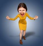 Взгляд сверху злюще кричащей, сердитой женщины шаржа с bi Стоковые Фотографии RF