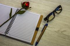 Взгляд сверху книги и ручки с стеклами на белой деревянной предпосылке Стоковая Фотография