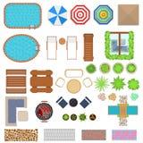 Взгляд сверху комплекта элементов дизайна ландшафта шаржа вектор Стоковые Фотографии RF