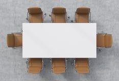 Взгляд сверху конференц-зала Белая прямоугольная таблица и 8 коричневые кожаные стульев вокруг интерьер 3d иллюстрация штока