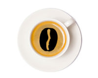 Взгляд сверху кофейной чашки изолированное на белой предпосылке с клиппированием Стоковая Фотография RF