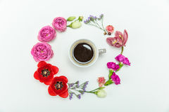 Взгляд сверху красивый различный зацветать цветет вокруг чашки кофе Стоковые Изображения RF