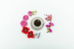 Взгляд сверху красивый различный зацветать цветет вокруг чашки кофе Стоковая Фотография RF