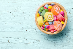 Взгляд сверху красочной конфеты Стоковое Фото