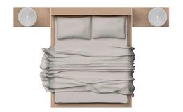 Взгляд сверху кровати с деревянной рамкой на белой предпосылке Стоковое Изображение