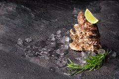 Взгляд сверху насыщенных близких устриц на черной предпосылке Питательная тропическая наяда моря Большой деликатес скопируйте кос Стоковые Фотографии RF