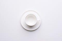 Взгляд сверху на пустом белом кофе Стоковое Изображение RF