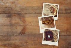 Взгляд сверху немедленного поляроидного фотоальбома Стоковое Изображение
