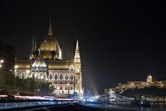 Взгляд сверху ночи Будапешта Стоковая Фотография