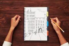 Взгляд сверху домов чертежа Стоковая Фотография RF
