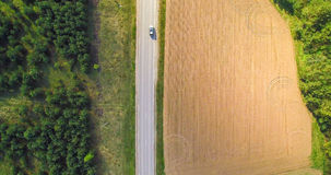 Взгляд сверху дороги и поля Стоковая Фотография