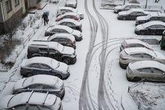 Взгляд сверху припаркованного автомобиля Стоковая Фотография