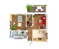 Взгляд сверху плана дома - дизайн интерьера Стоковое Изображение RF