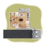 Взгляд сверху плана дома Стоковые Изображения