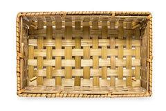 Взгляд сверху плетеной корзины изолированное на белизне Стоковое Фото