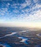 взгляд сверху реки пущи дня морозный Стоковые Изображения RF