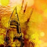Взгляд сверху роскошной гондолы Предпосылка Венеции Стоковое Изображение