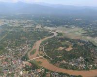 Взгляд сверху самолета, городского пейзажа Чиангмая Стоковая Фотография RF