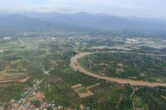 Взгляд сверху самолета, городского пейзажа Чиангмая Стоковая Фотография