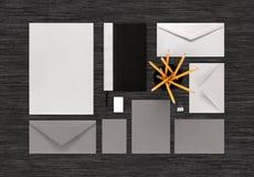 Взгляд сверху серого цвета и серебр красят клеймя модель-макет дела на b Стоковые Фото