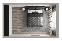 Взгляд сверху спальни Стоковое Изображение