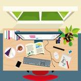 Взгляд сверху стола концепции график-дизайнера иллюстрация штока