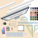 Взгляд сверху стола концепции дизайнера по интерьеру иллюстрация штока