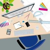 Взгляд сверху стола концепции дизайнера по интерьеру иллюстрация вектора