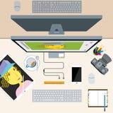 Взгляд сверху стола офиса концепции фотографа дизайнерского иллюстрация вектора