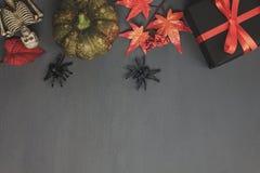 Взгляд сверху счастливой концепции предпосылки фестиваля хеллоуина Стоковое Фото