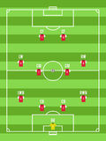 Взгляд сверху футбола или футбольного поля с editable расположением игроков Стоковое Изображение