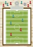Взгляд сверху футбольного поля или футбольного поля на борту Стоковые Фотографии RF