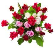 Взгляд сверху цветастого букета роз Стоковые Фото
