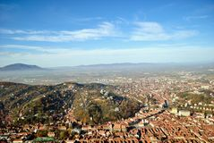 Взгляд сверху центра города Brasov стоковая фотография rf