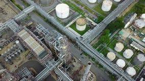 взгляд сверху 4K нефтехимического завода видеоматериал
