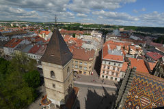 Взгляд сверху Kosice от башни собора Стоковая Фотография