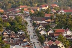 Взгляд сверху Luang Prabang от горы Phousi Стоковая Фотография