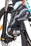 Взгляд снизу специального ботинка контакта прикрепленного к велосипеду Стоковые Фотографии RF