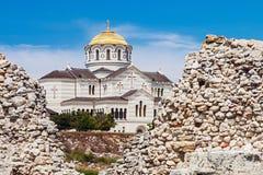 Взгляд собора Владимира в Tauric Chersonesos, Севастополе cit стоковая фотография