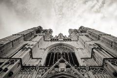 Взгляд собора от земли в черно-белом стоковые фотографии rf