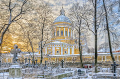 Взгляд собора святой троицы от кладбища Nikolskoye Стоковое фото RF