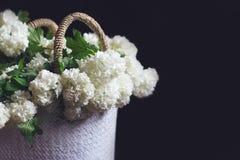 Взгляд со стороны белых цветков в плетеной сумке Стоковые Изображения RF