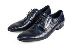 Взгляд со стороны ботинок черных кожаных людей Стоковое фото RF